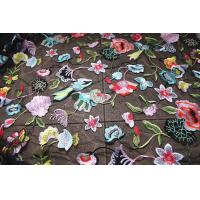 Buy cheap Multi Colored Lace Fabric With Embroidered Florals , Heavy Embroidered Lace Cloth product