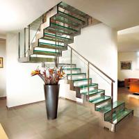 Buy cheap Stainless steel glass straight staircase price/residential steel glass stairs from wholesalers