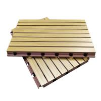 Buy cheap 3D Grooved Wooden Acoustic Ceiling Tiles / Soundproof Decorative Wall Panels from wholesalers