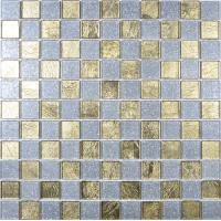 Buy cheap 4mm thickness glass material square shaped golden crystal glass mosaic tile floor from wholesalers