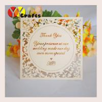 Buy cheap 13X13 Cm  Ivory Wedding Thank You Card With Laser Cut Custom Words from wholesalers