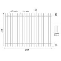 Buy cheap Square picket  Flat Top Garrison Fence Panels 2100mm*2450mm Height 25mm Upright Spacing 100mm Powder Coated Black from wholesalers