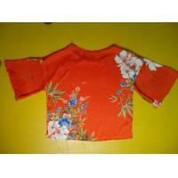 Buy cheap Floral Printing Womens Loose Fitting Tops Flare Sleeves Round Neck 100 Silk Blouse from wholesalers