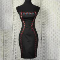 Buy cheap Sexy Strapless Ladies Elegant Dresses With Drop - Shaped Stone Decoration product
