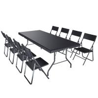 Quality Large Load Capacity Foldable Table And Chairs Black Color Eco Friendly Weatherproof for sale