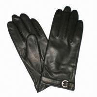 Buy cheap Women's fashionable gloves with leather belt, made of lambskin leather from wholesalers