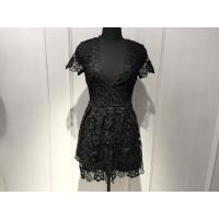Buy cheap Women Black Lace Dresses , Slim Fitting Short Sleeve Deep V Neck Dresses from wholesalers