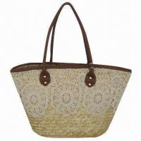 Buy cheap Wheat Straw Handbag with Lace Body Decoration and PU Handle, Available in Various Colors from wholesalers