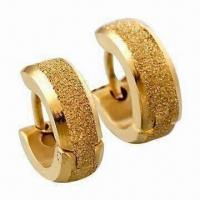 Buy cheap Hoop Earrings, Made of Titanium and 316L Steel, with 18K Gold Plating product