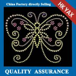 China D0929 New fashion strass design hotfix motifs, hotfix DMC rhinestone motifs design, butterfly design hotfix motif on sale