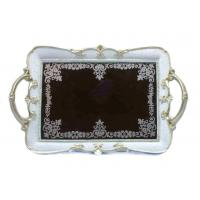 Buy cheap Elegantly Velvet Mirrored Vanity Tray With Scalloped Edges Acanthus Design from wholesalers