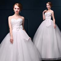 Buy cheap 2016 Spring Hot Sale High Waist Lace Bra Diamond Straps White Butterfly Sash Wedding Dress from wholesalers