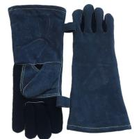 Buy cheap cow split leather heat resistant gloves BBQ grill leather working gloves from wholesalers