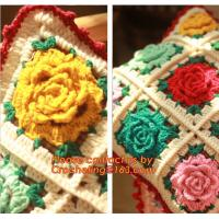 Buy cheap Handmade 100% Cotton Dimensional Flower Crochet Pillow Cushion Cover Decorative Cushion We from wholesalers