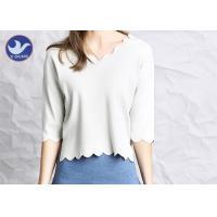 Wavy Edge Womens Knit Pullover Sweater Half Sleeves Short Body Summer Knitwear