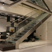 Buy cheap First floor stairs design with double beam glass balustrade design product
