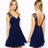 Buy cheap Summer Sexy Backless Short Cocktail Party Dresses Sleeveless Black from wholesalers