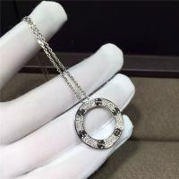 Buy cheap 18K White Gold Cartier Love Necklace , Real Diamond Paved 18k White Gold Necklace product
