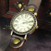 Buy cheap Vintage Men Womens Genuine Leather Band Cuff Hemp Bracelet Bangle Wrist Watch brown from wholesalers
