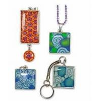 Buy cheap 100% lead and nickle free silver plated high polish epoxy resin pendant from wholesalers