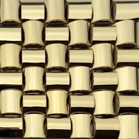 Buy cheap Golden 3D Arched Metallic Mosaic Tiles Trim Stainless Steel Laminate Backsplash from wholesalers