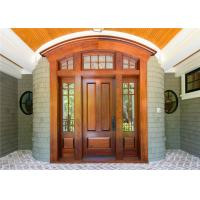Buy cheap Double Leafs Israel Solid Wood Exterior Front Doors Tempered Glass For Villas Teak Color from wholesalers