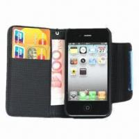 Buy cheap Leather Case for iPhone 4S, Comes in Wallet Style from wholesalers