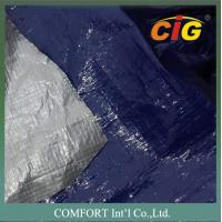 Buy cheap Plastic waterproof tarpaulin 150G/M2 2M Wide 100% PE Material Blue / Silver product