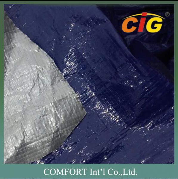 Buy cheap Plastic waterproof tarpaulin 150G/M2 2M Wide 100% PE Material Blue / Silver from wholesalers