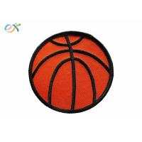 Buy cheap Twill Background Fabric Embroidered Sports Patches  Orange / Red Color from wholesalers