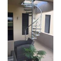 Quality Outdoor Spiral Staircase with Glass Tread and Stainless Steel Railing for sale