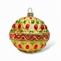 Buy cheap 80mm Glass Molded Ball Christmas Ornament with Dots Pattern from wholesalers
