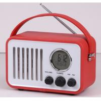 Buy cheap leather retro portable am fm radio with alarm clock calendar temperature function from wholesalers