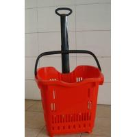 Buy cheap Plastic Telescope Supermarket Rolling Shopping Basket With 2 PU Wheels from wholesalers