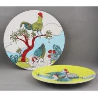 Buy cheap Chinese tradtional cast iron chicken painted enamel dinner plate from wholesalers