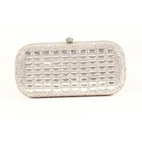 Buy cheap Rectangular Silver Rhinestone Evening Bags With 120cm Metal  Chain from wholesalers