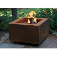 Buy cheap Wood Burning Square Metal Fire Pit , Square Garden Fire Pit Simple Design product
