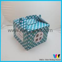 Buy cheap Blue Cake Packaging Boxes With Handle , Unfolding Flat Paper Food Box from wholesalers