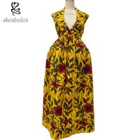 China Sexy African Print Dresses Sleeveless Deep V neck African Designs Long Dress on sale