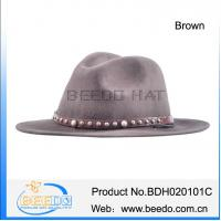 Buy cheap 100% wool felt flat brim cowboy hat with leather band and tassel from wholesalers