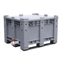 Buy cheap popular heavy duty large capacity plastic pallet box with optional wheels lid valve from China manufacturer from wholesalers