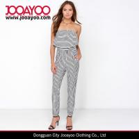 Buy cheap Black and White Striped Strapless Jumpsuit with Long Relaxed Pant Legs from wholesalers
