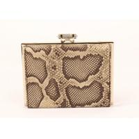 Buy cheap Snakeskin Pattern Dark Brown Clutch Bag , Cow Leather Black Patent Clutch Bag from wholesalers