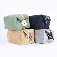 Buy cheap Brown Waterproof Cosmetic Bag Waxed Canvas Material 9 . 5 * 4 * 4 . 5CM from wholesalers