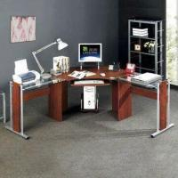 Buy cheap Tempered Glass MDF Corner Computer Desk with Mobile CPU Holder and Pull-out Keyboard Shelf from wholesalers