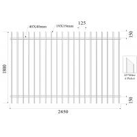 Buy cheap 45 degree mitred Picket 19mmx19mm H1800mmxW2450mm Rail 40mm x 2 Black Powder Coated Diplomat Fence from wholesalers
