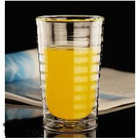 Buy cheap Customized borosilicate Double layer heat-resistant glass threaded pattern cup for coffee and wine from wholesalers