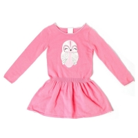 Buy cheap owl pink embroidery applique ruffle child girl dress sweater from wholesalers