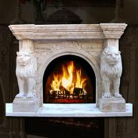 Buy cheap French Style Classic White Cherub Marble Fireplace Mantel with Angle Statue from wholesalers