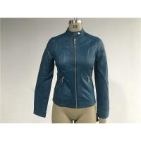 Buy cheap Mandarin Collar Teal Pleather Biker Jacket For Womens Tw76349 product